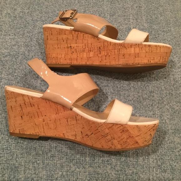4bb0b166c4 Calvin Klein Shoes | Ck Lorraine Wedge 9 White Nude Cork ...